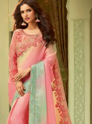 Embroidered Art Silk Pink Designer Saree