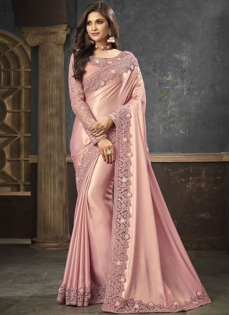 Embroidered Art Silk Pink Trendy Saree