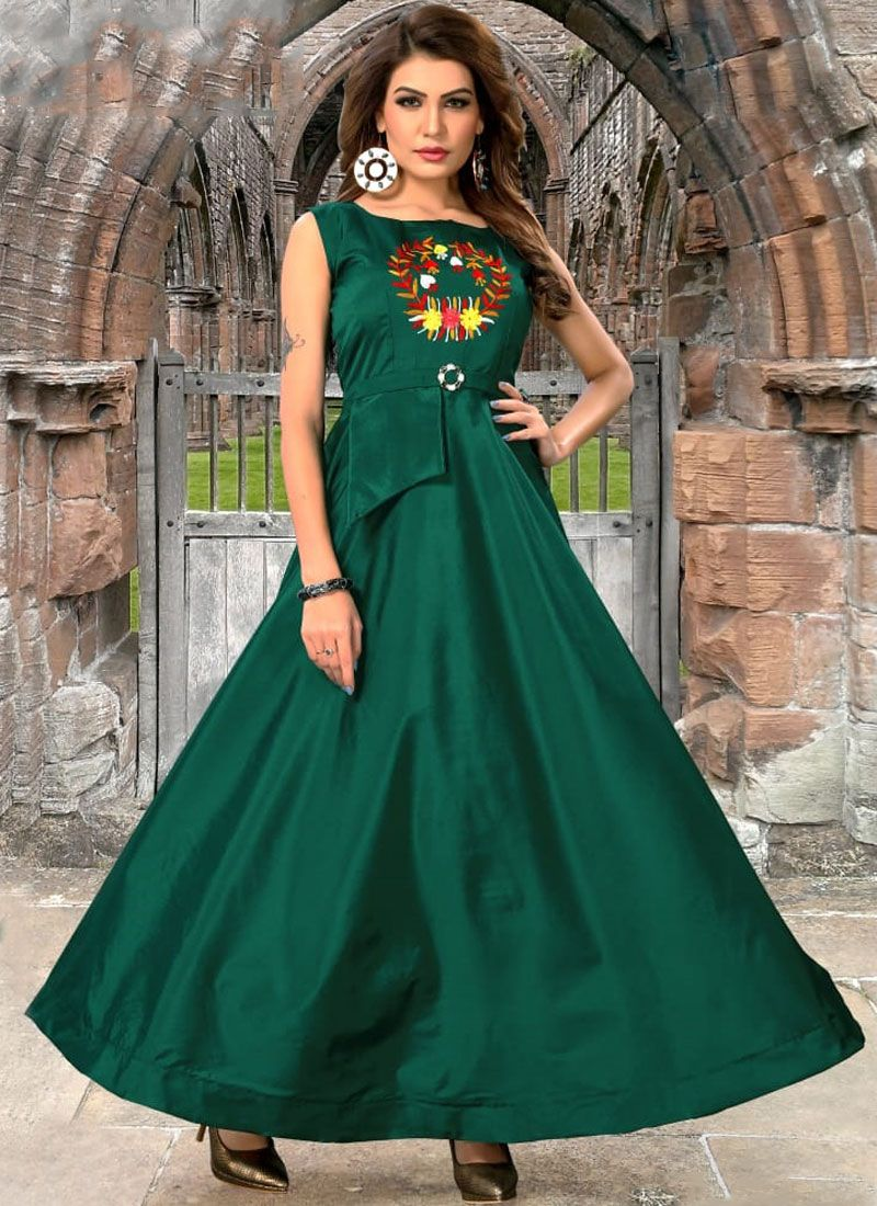 Embroidered Art Silk Readymade Gown