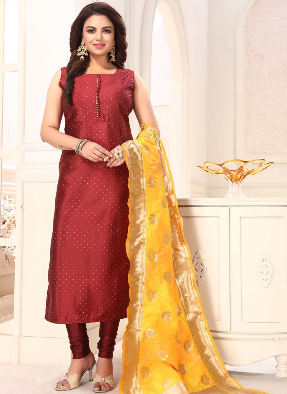 Embroidered Art Silk Readymade Suit in Maroon