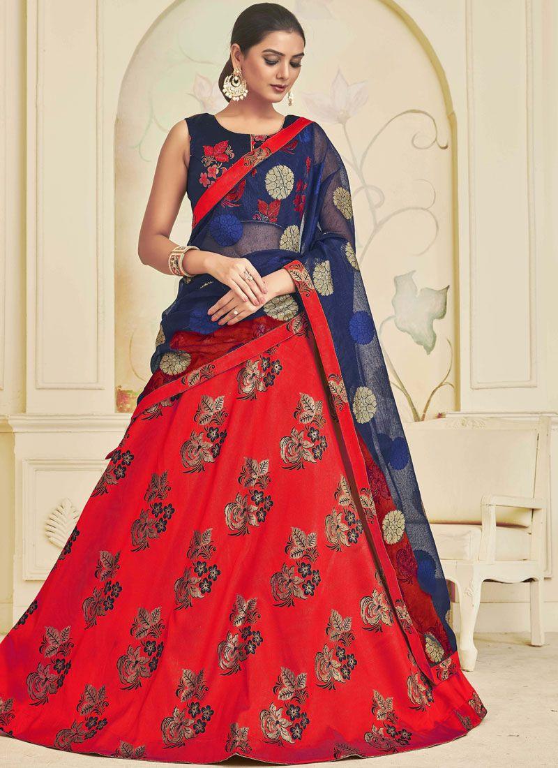 Embroidered Art Silk Red A Line Lehenga Choli