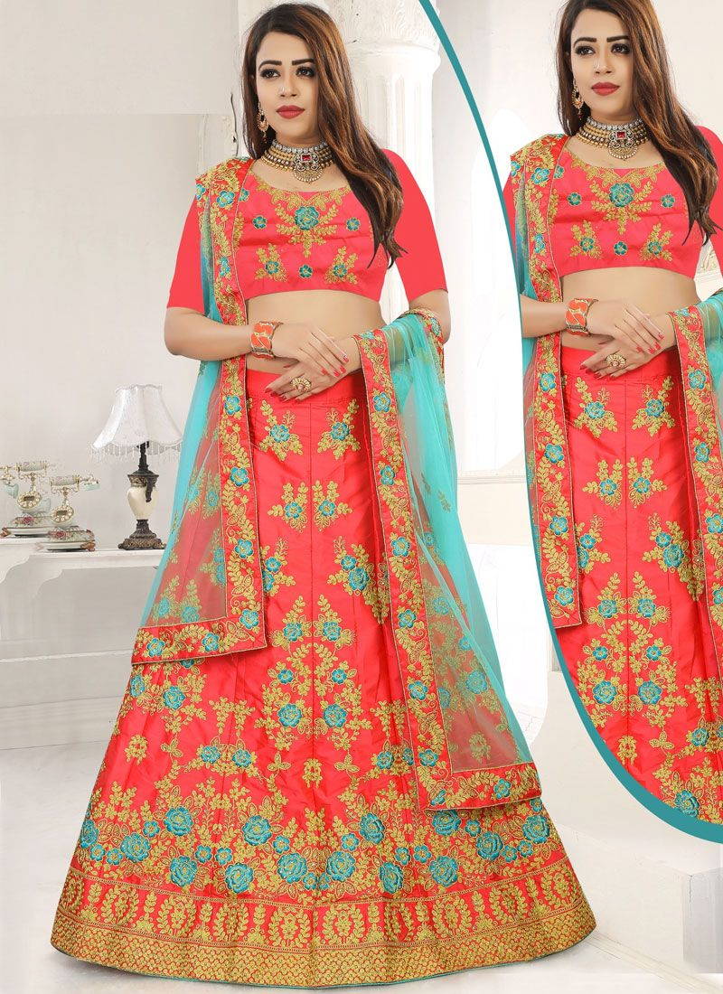 Embroidered Art Silk Rose Pink Designer Lehenga Choli
