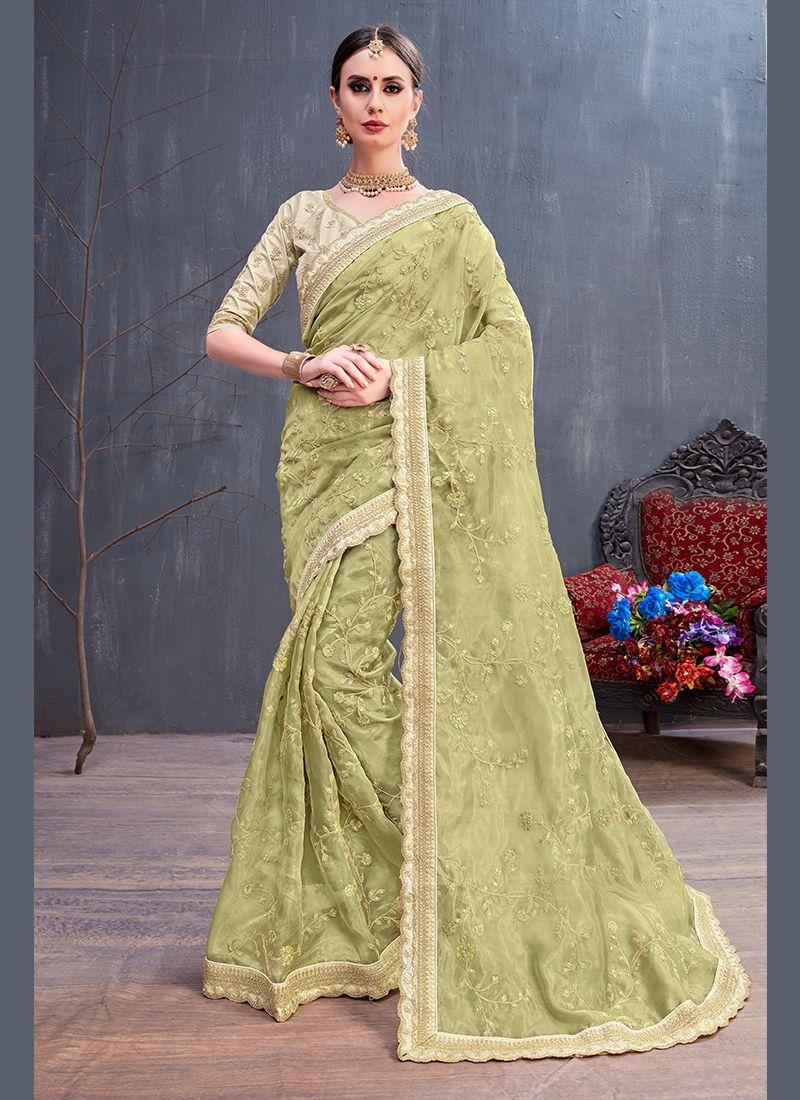 Embroidered Art Silk Sea Green Traditional Saree