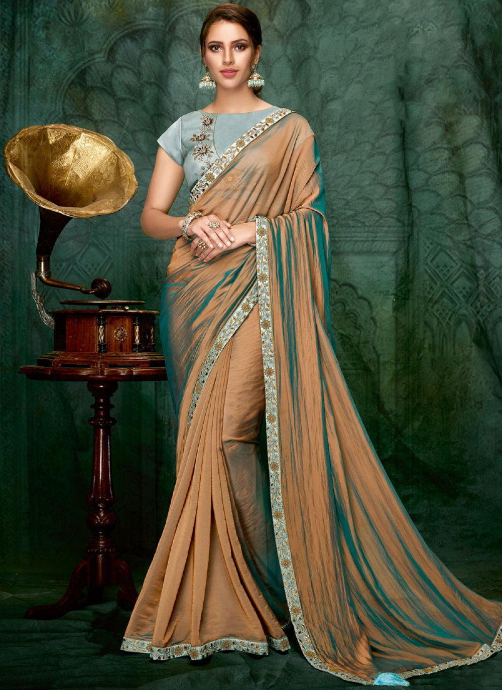 Embroidered Art Silk Shaded Saree