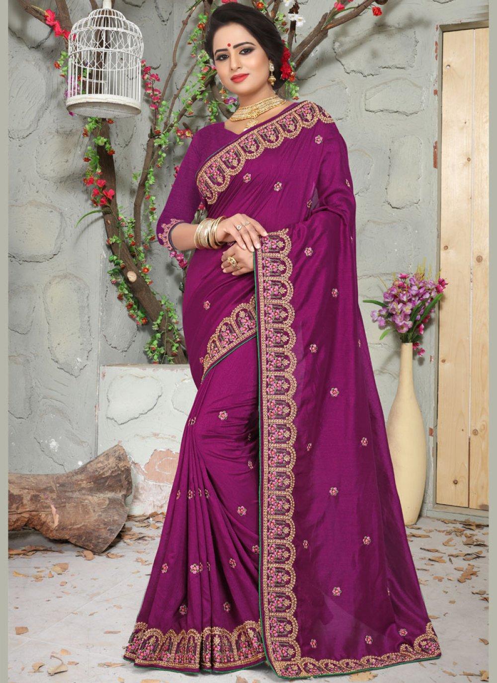 Embroidered Art Silk Traditional Designer Saree