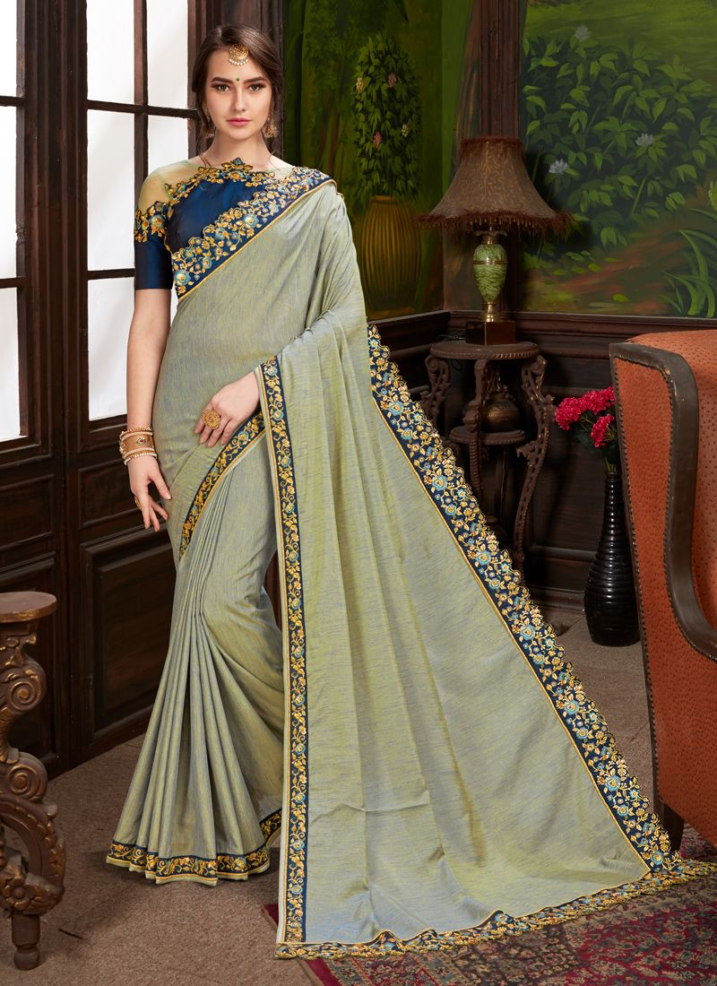 Embroidered Art Silk Traditional Designer Saree