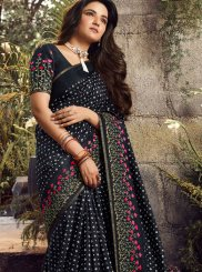 Embroidered Art Silk Traditional Designer Saree in Black