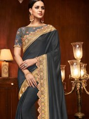 Embroidered Art Silk Traditional Designer Saree in Grey