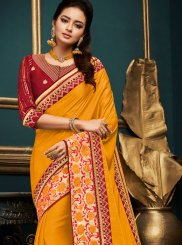 Embroidered Art Silk Traditional Designer Saree in Orange