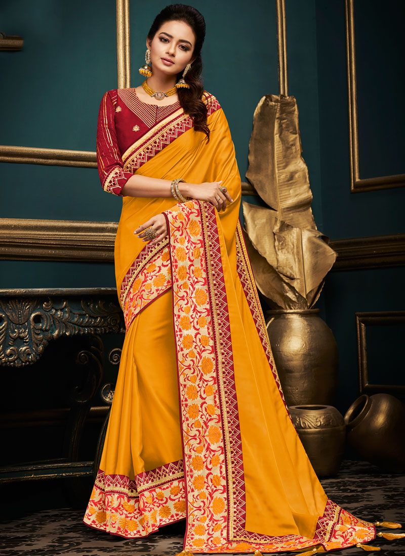 Embroidered Art Silk Traditional Designer Saree in Yellow