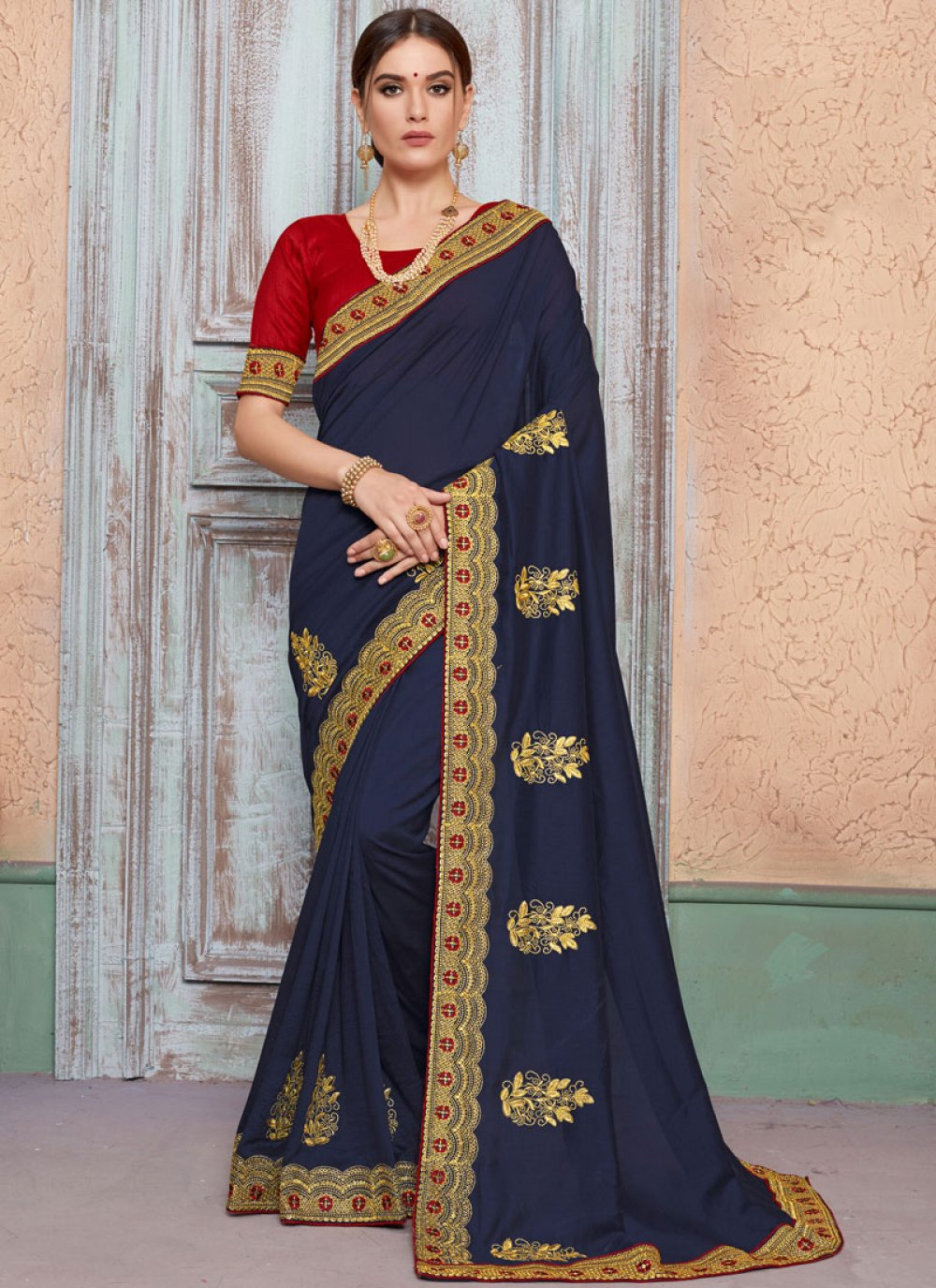 Embroidered Art Silk Traditional Saree in Navy Blue