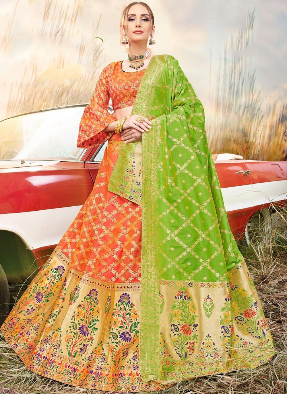 Embroidered Banarasi Silk A Line Lehenga Choli in Orange