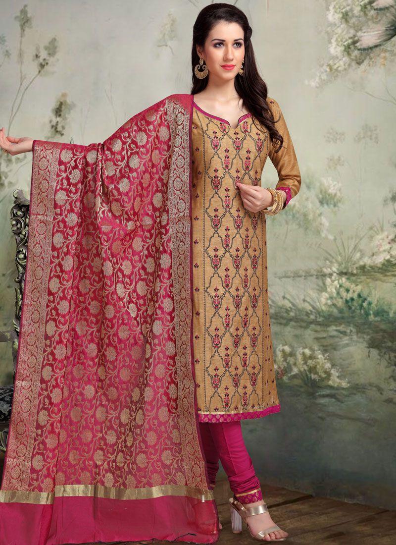 Embroidered Banarasi Silk Beige Churidar Designer Suit