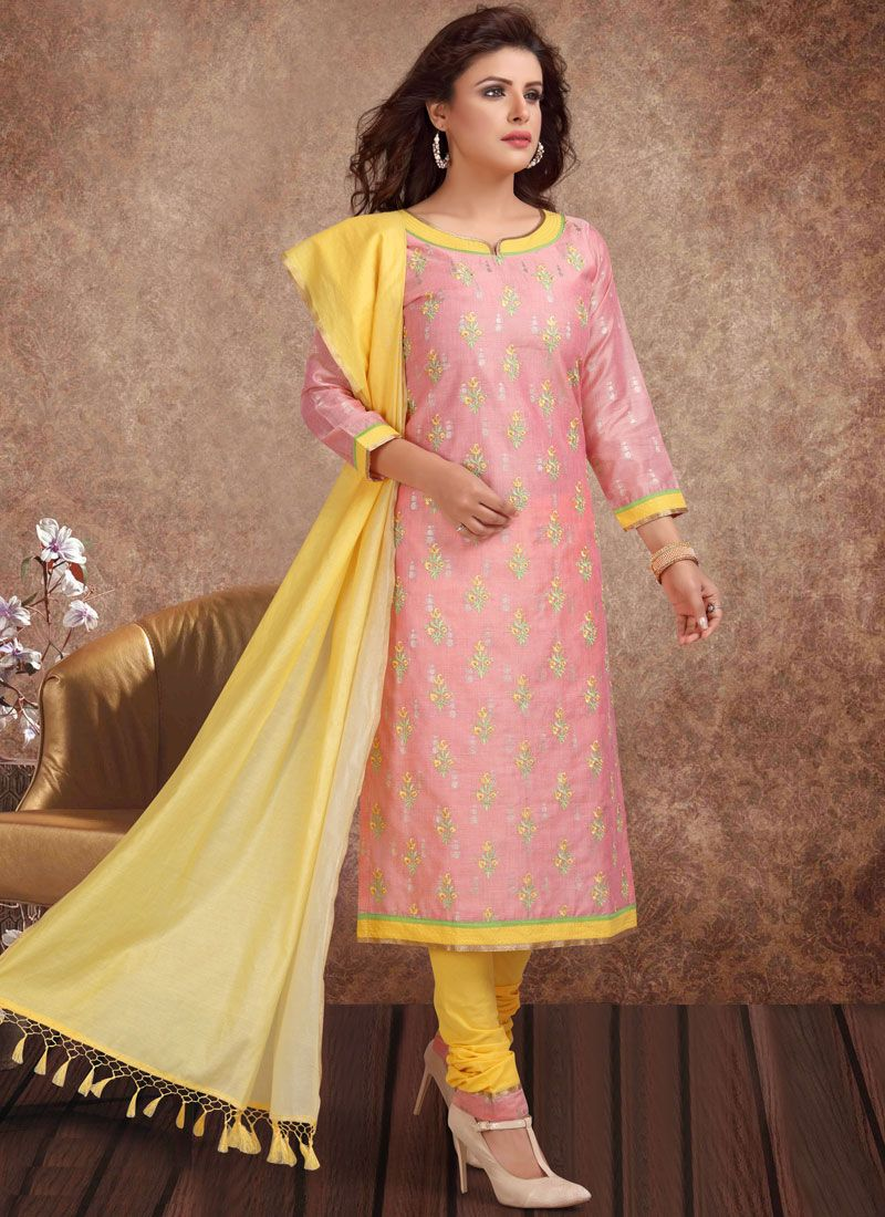 Embroidered Banarasi Silk Churidar Salwar Kameez in Pink