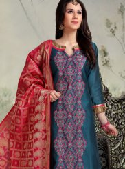 Embroidered Banarasi Silk Churidar Suit in Teal