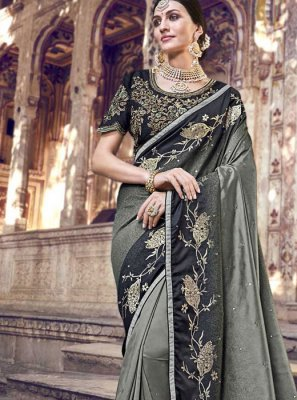Embroidered Banarasi Silk Classic Saree in Black and Grey