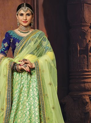 Embroidered Banarasi Silk Designer Lehenga Choli in Green