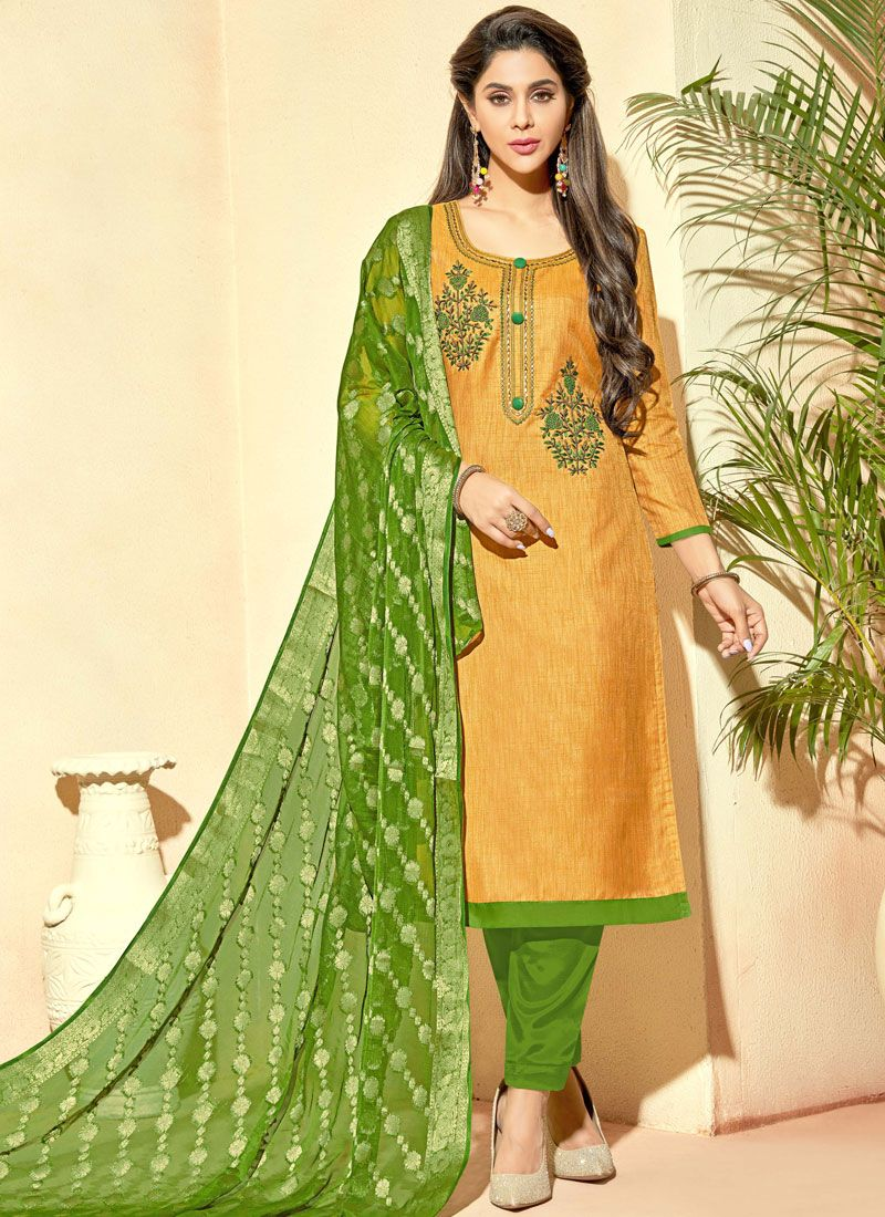 Embroidered Banarasi Silk Pant Style Suit in Mustard