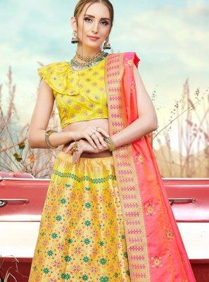 Embroidered Banarasi Silk Trendy A Line Lehenga Choli in Yellow
