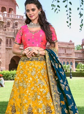 Embroidered Banarasi Silk Trendy Designer Lehenga Choli