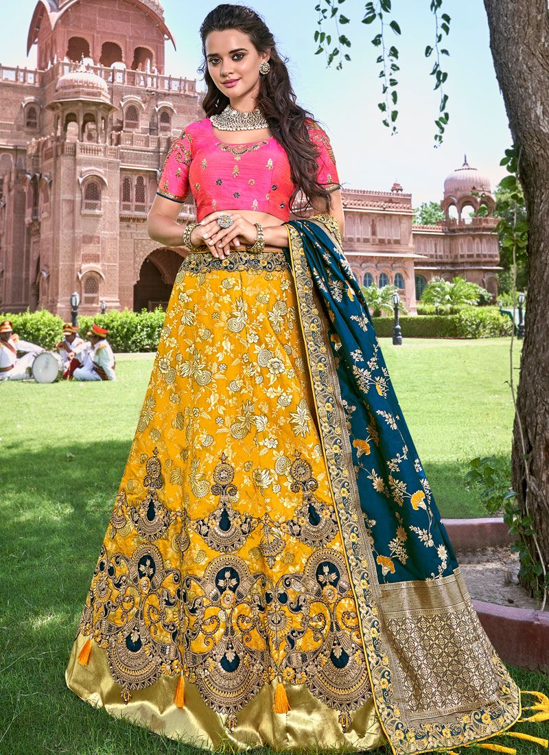 Embroidered Banarasi Silk Trendy Designer Lehenga Choli