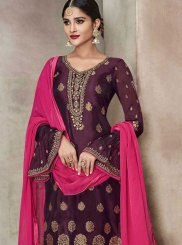 Embroidered Banglori Silk Churidar Salwar Suit in Purple