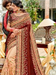 Embroidered Beige and Brown Designer Saree