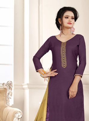 Embroidered Beige and Purple Churidar Designer Suit