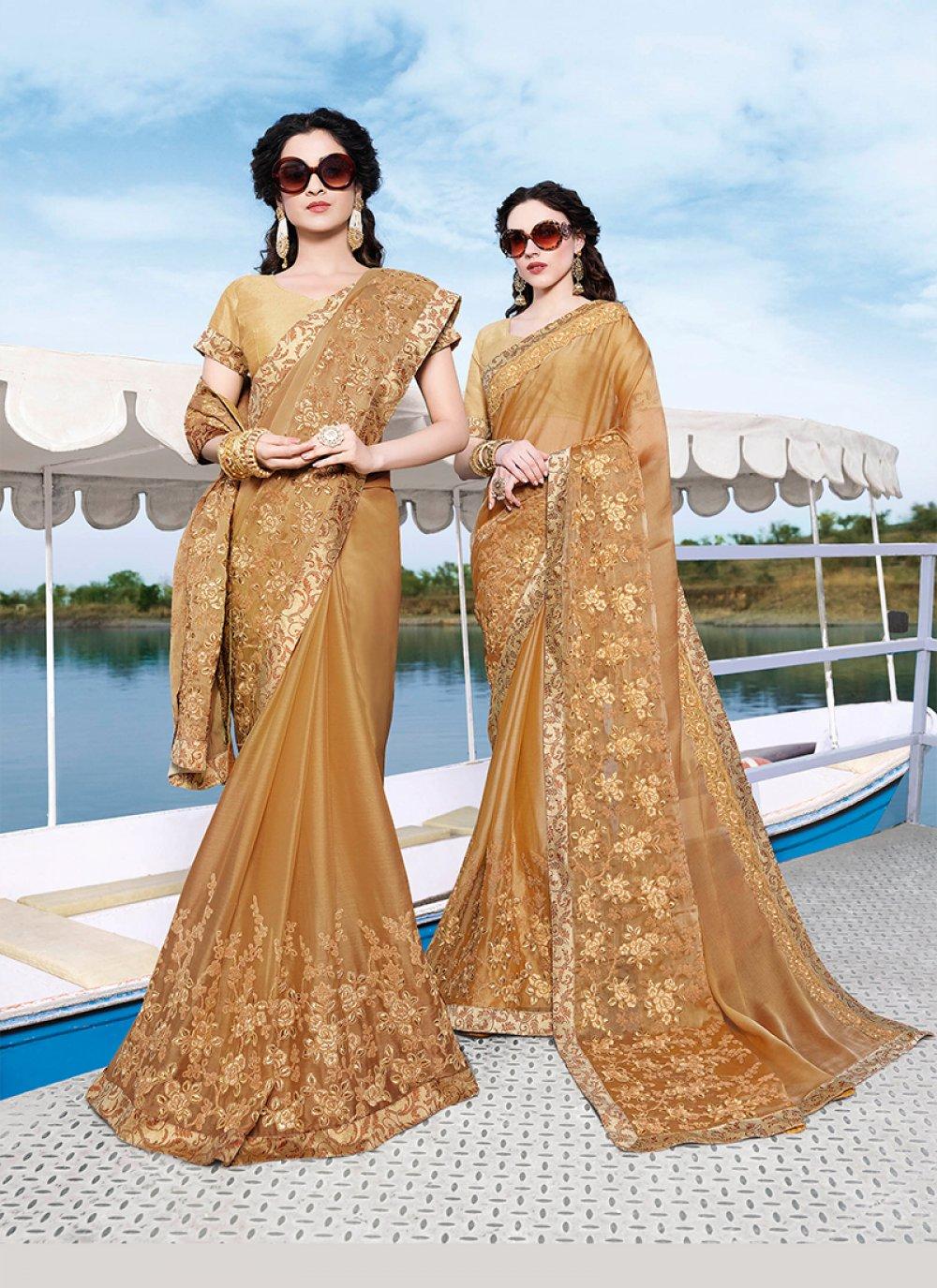 Embroidered Beige Chiffon Satin Trendy Saree