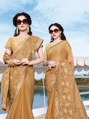Embroidered Beige Chiffon Satin Trendy Saree