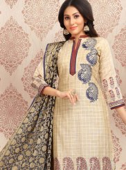 Embroidered Beige Churidar Designer Suit