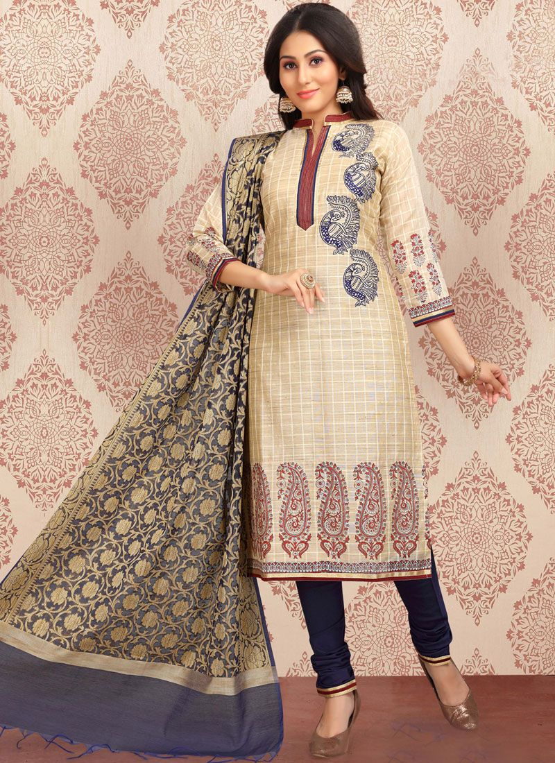 Embroidered Beige Churidar Designer Suit