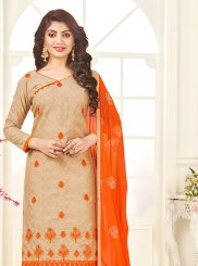 Embroidered Beige Churidar Suit