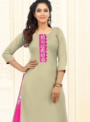 Embroidered Beige Cotton Churidar Suit