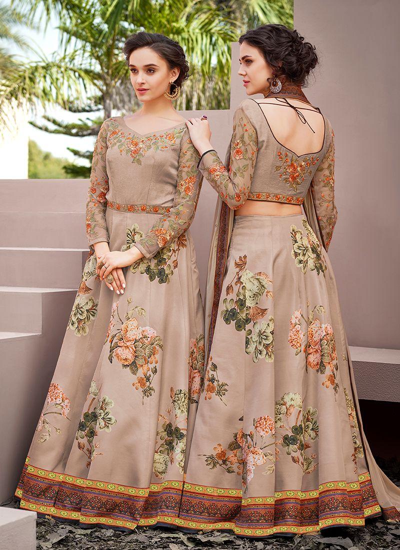 Embroidered Beige Designer Gown