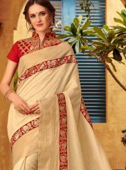 Embroidered Beige Designer Traditional Saree