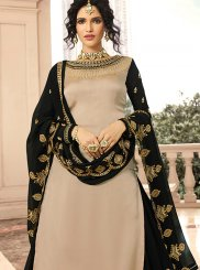 Embroidered Beige Georgette Satin Trendy Designer Lehenga Choli
