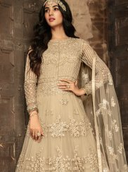 Embroidered Beige Net Anarkali Salwar Kameez