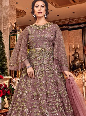 Embroidered Beige Net Trendy Anarkali Salwar Kameez