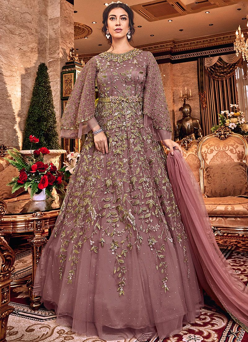 Embroidered Beige Net Trendy Anarkali Salwar Kameez