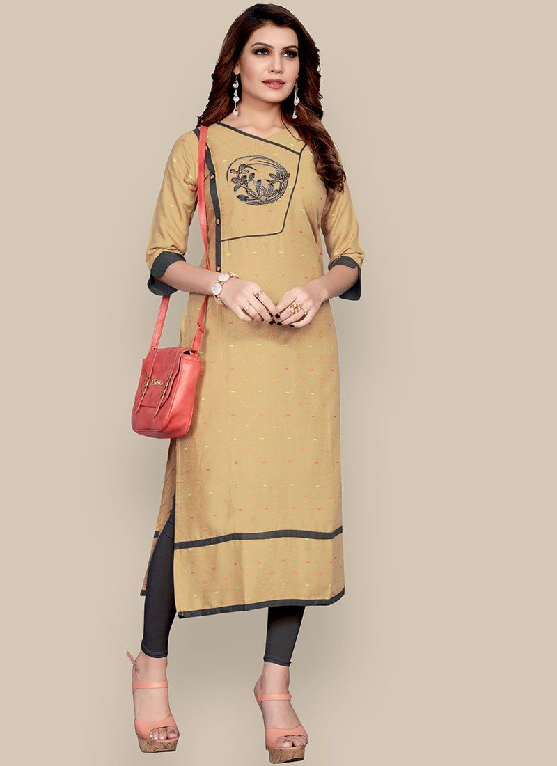 Embroidered Beige Rayon Party Wear Kurti