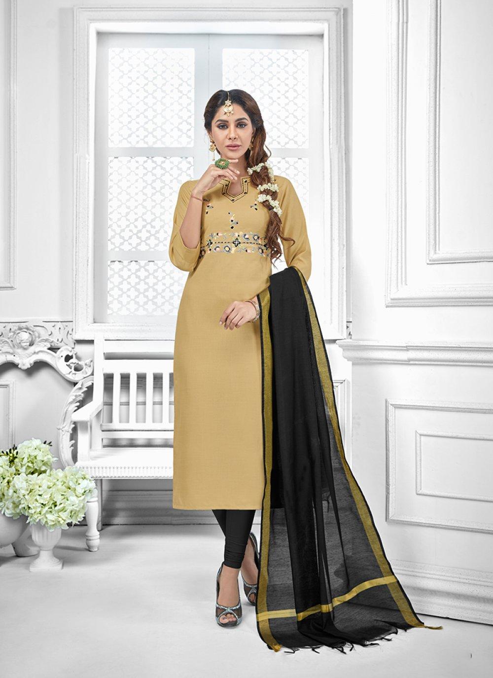 Embroidered Beige Salwar Suit