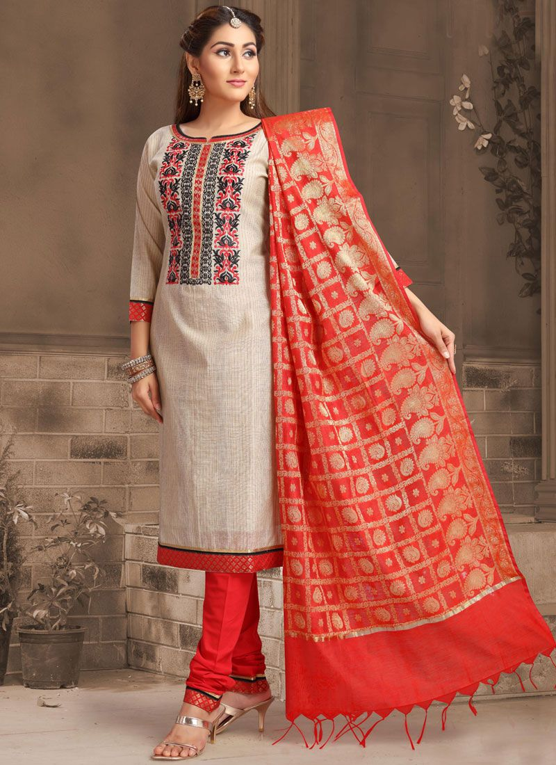 Embroidered Beige Silk Designer Salwar Suit
