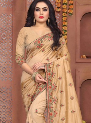 Embroidered Beige Traditional Saree