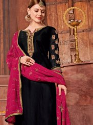 Embroidered Black Churidar Designer Suit