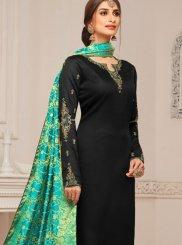 Embroidered Black Cotton Silk Churidar Designer Suit