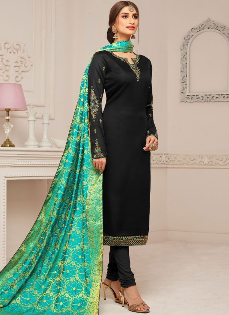 Embroidered Black Cotton Silk Churidar Designer Suit