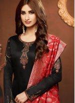 Embroidered Black Cotton Silk Churidar Salwar Kameez