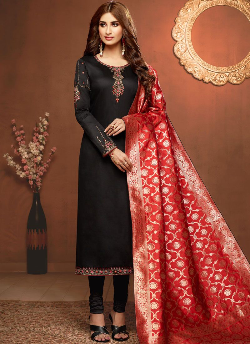 Embroidered Black Cotton Silk Churidar Salwar Kameez