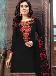 Embroidered Black Designer Patiala Salwar Kameez